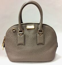 Authentic BURBERRY Heritage Grain Orchard Leather Bowling Bag Taupe Grey