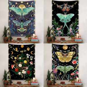 Moon Phase Wall Tapestry Witchy Aesthetic Moonlit Garden Flower Trippy Butterfly