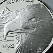 ALASKA MINT OFFICIAL STATE 1992 EAGLE proof 1 OZ .999 SILVER COIN SN#1964 RARE