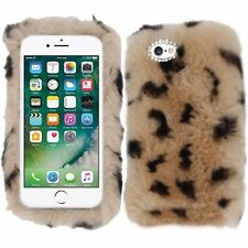 Leopard Cheetah Brown Fluffy Soft Fur Fury Case Cover For Apple iPhone 7 Plus