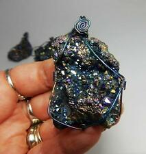 Rainbow Faerie Geode Wire Wrapped Necklace natural agate on a gun metal chain