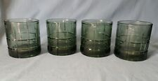 4 Anchor Hocking Tartan Plaid Olive Green Old Fashioned Drink Whiskey Glasses