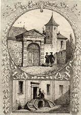 EAU FORTE / Fables de la Fontaine 1883 / MAISON DE LA FONTAINE A CHATEAU THIERRY