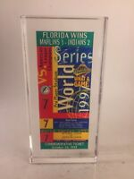 1997 World Series Game #7 Florida Marlins Lucite Commemorative Ticket Souvenir