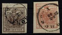 LOMBARDEI-VENETIEN 1850 2Marke:30C, und 15C, beide mit RAND! VERONA und BRESCIA