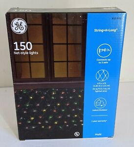 GE STRING A LONG 6' x 4' NET STYLE CHRISTMAS HOLIDAY LIGHTS 150-COUNT New