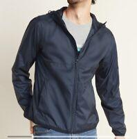 IZOD FULL Zip Packable Hooded Windbreaker Blue Jacket Size XXL