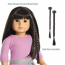 """American Girl MY AG ACCENT BRAID CLIPS DARK BROWN for 18"""" Doll Hair Retired NEW"""