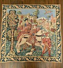 "Gobly's Tapestry France Hunters and Falcons on Horseback 33"" x 33.5"""