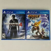 Uncharted 4 A Thief's End / Ratchet & Clank Action Adventure PS4 Video Game Lot