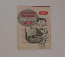 Vintage Coleman 425E 2 Burner Camp Stove 1971  Instructions & Parts List