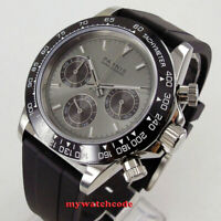39mm PARNIS gray dial sapphire glass rubber strap Chronograph quartz mens watch