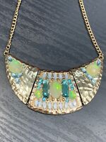 Vintage Necklace Gold Bib statement False Opel Lucite Cabochon Rhinestone 16""