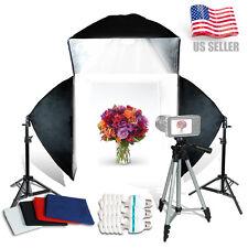 "16"" Photography Photo Studio Light Tent Backdrop 3x Softboxes Kit Cube Lighting"
