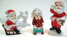 3 Christmas Figurines Mr. & Mrs. Santa Claus + Reindeer Sleigh Vintage Japan