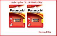 Lot de 2 piles spéciales photos CR123 lithium Panasonic, livraison gratuite !!