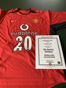 2002 2003 Ole Gunnar Solskjaer Manchester United Signed Shirt Man Utd Norway COA