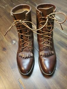 Justin Brown Leather Roper Lace Up Womens Western Cowgirl Boots Size 8.5 B