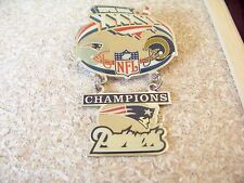 SB Super Bowl 36 XXXVI Patriots Rams Champions dangle pin dangling hanger