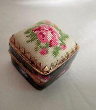 Vintage Enamel Pill Box Petit Point Rose Top Cloisonne Cobalt Blue Enamel