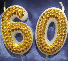 60 Gold Diamanté Birthday Candle  Sixtieth Party Cake Topper 60th