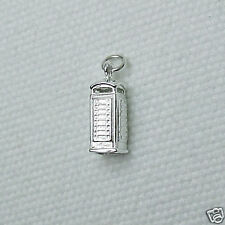 TELEPHONE PHONE BOX 3D CHARM 925 STERLING SILVER