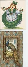 VINTAGE IRISH REDHEAD IRELAND COSTUME DRESS GREEN CLOVERS CARD PRINT & 1 PEACOCK