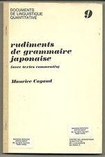 Rudiments de Grammaire Japonaise avec textes commentés, Doc Linguistique, Coyaud