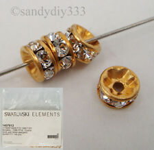 6x SWAROVSKI GOLD RONDELLE #1088 CLEAR CRYSTAL BEAD SPACER 5mm