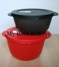 Tupperware Crystalwave Microwave Container 6, 8 1/2 Cups Black/Red NEW !!!
