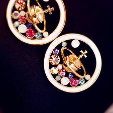 1Pair Women Rhinestone Enamel Universe Planet Saturn Stud Earrings Jewelry Gift
