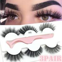 3Pairs Soft False Eyelashes Fluffy Wispy Thick Eye Lashes Extension with Tweezer