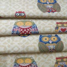 50x150cm Cotton Linen Fabric DIY RETRO Craft Material Vintage Owls F40 F
