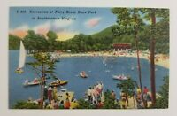 Postcard Linen Boating Sailing Fairy Stone State Park Southeastern Virginia