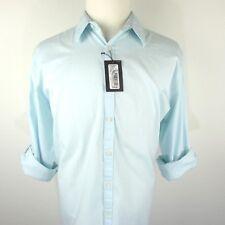 NWT Murano Mens Size XL Light Aqua Blue Pinstripes Roll Up Long Sleeve Shirt