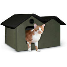 """""""Green Black Unheated Extra-Wide Outdoor Kitty House W/ Removable Door Flaps """""""