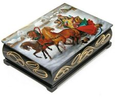 Palekh Style Lacquer Trinket box with Russian Troika in Winter Print 11x16 cm