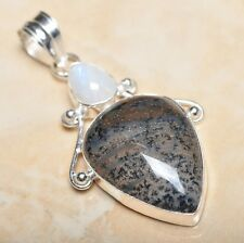 "Handmade Dendritic Tree Natural Agate 925 Sterling Silver Pendant 2.25"" #P11587"