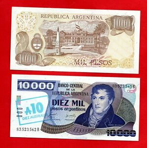 2 ARGENTINA BANKNOTES IN UNCIRCULATED CONDITION. 2 X NOTES.