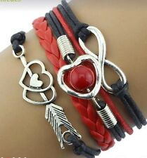 Black Braided Silver Toned Charm Bracelet Infinity Heart Faux Pearl Arrow