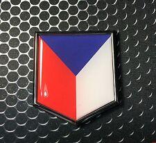 "Czech Republic Flag Domed CHROME Emblem Proud Flag Car 3D Sticker 2""x 2.25"""