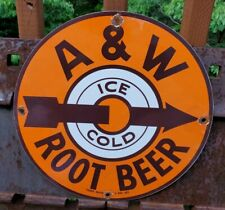 VINTAGE ICE COLD A & W ROOTBEER PORCELAIN GAS STATION ADVERTISING SIGN! SODA POP