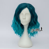 Women 35CM Women Mixed Turquoise Blue Curly Hair Cosplay Lolita Style Full Wig