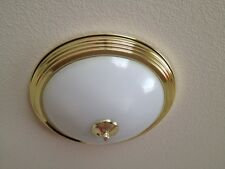 "Round 16"" Glass Gold Brass Flushed 3 Bulb Ceiling Light Fixture"
