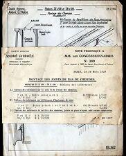 """Concessionnaire AUTOMOBILE CITROEN / MOTEURS """"NOTE TECHNIQUE N°389"""" en 1939"""