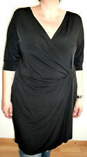 Schwarz Wickel-Optik Jersey Stretch-Kleid / Tunika Gr. 3XL 52-54 Nina Leonard