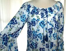 NWT Miss Q Floral Blue & White Boho Off the Shoulder style top 16-18 Plus Size