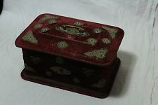Old Antique Velvet With Wooden Brass Fitted Perfume Bottle Golden Painting Box