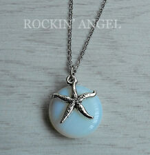 Sea Opal / Opalite Disc Starfish Pendant Necklace Reiki Healing Ladies Gift