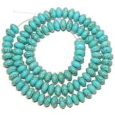 NG1566f Blue-Green Turquoise 8mm Rondelle Magnesite Gemstone Beads 15""